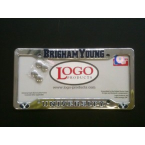 Brigham Young University , Chrome Plastic License Plate Frame, Brigham Young