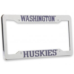 University of Washington , Chrome Plastic License Plate Frame, Washington Huskies