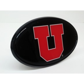"University of Utah - Hitch Cover - Snap Cap - Black with Red ""U"""