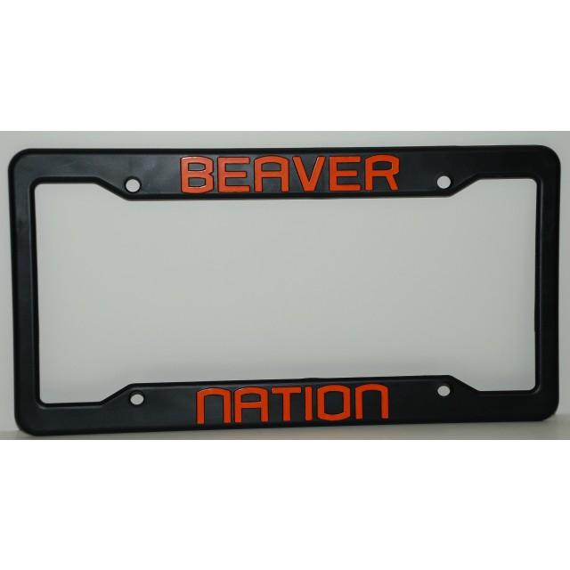 Oregon State University, Black Plastic License Plate Frame, Beaver ...