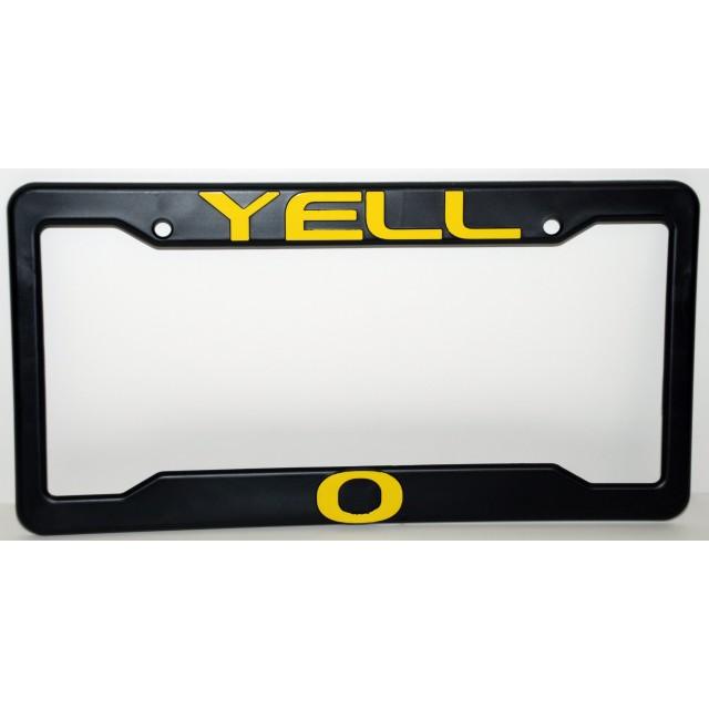 University of Oregon, Black Plastic License Plate Frame, Yell-O