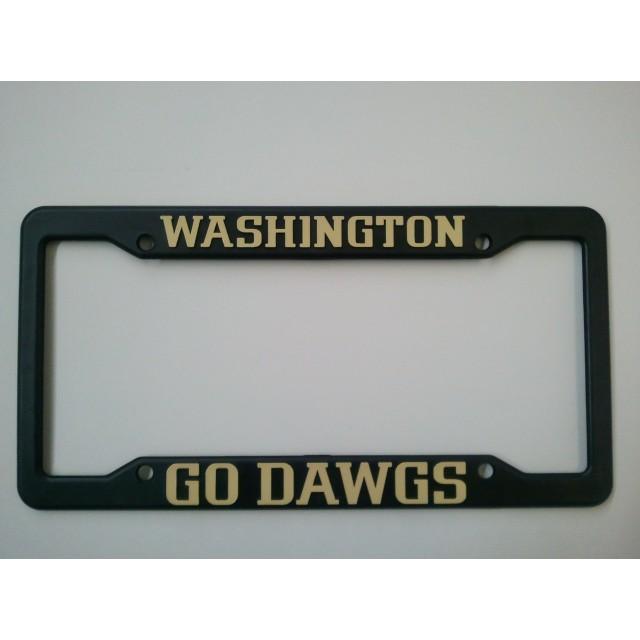 University of Washington, Black Plastic License Plate Frame, Go Dawgs