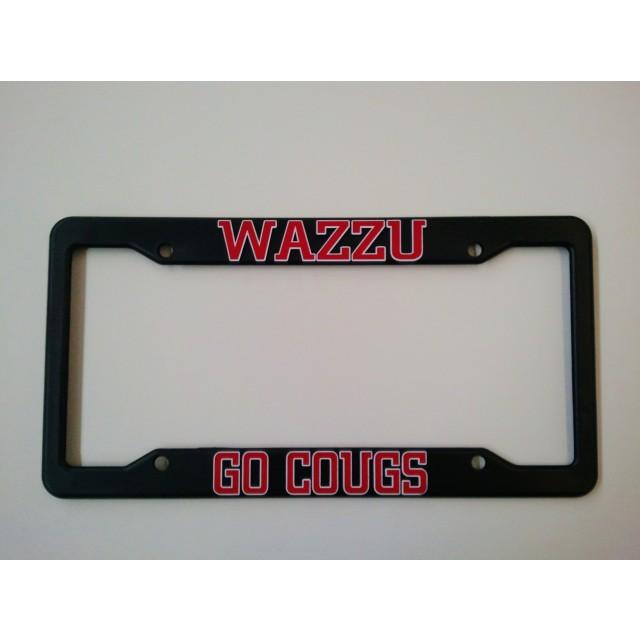 Washington State University, Black Plastic License Plate Frame, Go Cougs