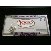 Boise State University , Chrome Plastic License Plate Frame, Broncos