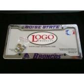 Boise State University , Chrome Plastic License Plate Frame, Broncos