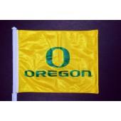 "University of Oregon - Car Flag - Yellow with Green ""O Oregon"""