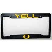 University of Oregon, Black Plastic License Plate Frame, Yell-O