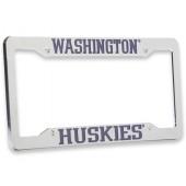 University of Washington , Chrome Plastic License Plate Frame, Washington Huskies
