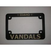 University of Idaho, Black Plastic MOTORCYCLE License Plate Frame, Vandals